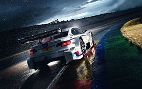 Картинка BMW, Race, White, Rain, DTM, Team, Morning, Competition, Track, M Power