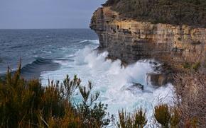 Картинка море, небо, брызги, шторм, скалы