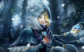 Rylai Crestfall, Crystal Maiden, рулайка, кристалка, цм, snowdrop set, девушка, грудь, посох, DotA 2, Defense of the Ancients, дота, герой, splash artwork, арт обои
