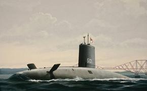 Картинка war, art, painting, digital art, artwork, concept art, drawing, submarine, u-boat