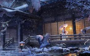 Картинка зима, девушка, снег, дом, зонт, аниме, арт, кимоно, аисты, lost elle, tsuru no ongaeshi