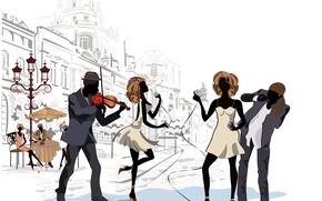 Картинка Париж, Девушки, Музыка, Город, Площадь, Улица, Парни