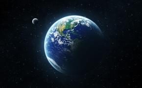 Terra, Земля, Планета, Космос, Луна обои