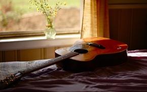 Обои комната, гитара, окно