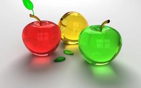 Обои стекло, красный, зеленый, яблоки