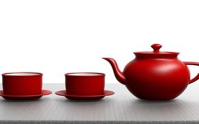 Картинка чаепитие, кружки, заварник, блюдца