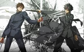 Картинка пистолет, оружие, крест, аниме, костюм, галстук, парни, пальто, fate/zero, Kotomine Kirei, Emiya Kiritsugu