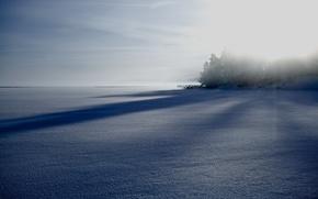 Картинка зима, поле, туман