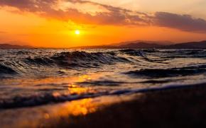 Картинка волны, пляж, закат, холмы, waves, beach, sunset, hills