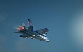 Обои полет, высота, крылья, Истребитель, Двигатель, Россия, самолёт, aircraft, military, ВВС, flight, wings, военный, interceptor, форсаж, ...