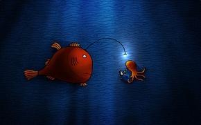 Обои рисунок, рыба, огонек