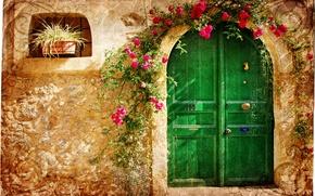 Картинка цветы, город, узор, дверь, старый, домик, каменный, Vintage loveliness, малиновые