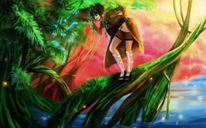Картинка вода, девушка, озеро, дерево, магия, змея, арт, naruto, RikaMello, mitarashi anko