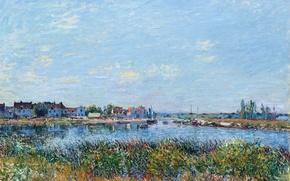 Картинка небо, облака, город, река, заросли, картина, Alfred Sisley
