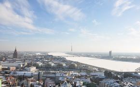 Картинка зима, небо, солнце, город, река, архитектура, телебашня, столица, Рига, Латвия, Riga, Latvia