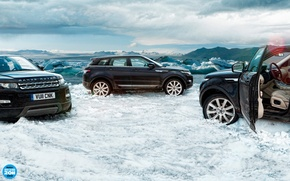 Картинка небо, облака, снег, лёд, Land Rover, range rover, top gear, высшая передача, топ гир, кроссовер, …