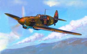 Картинка небо, война, истребитель, Арт, советский, поршневой, одномоторный, WW2, Як-7, Яковлев