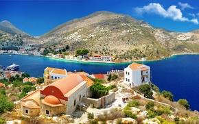 Картинка море, деревья, горы, природа, камни, побережье, дома, Греция, склон, церковь, Greece