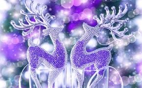 Картинка зима, камни, игрушки, блеск, блестки, Новый Год, бокалы, стразы, Рождество, фиолетовые, декорации, олени, Christmas, праздники, …
