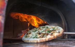 Обои пица, еда, огонь