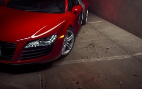 Картинка Audi, Red, Front, Supercar, Wheels, Ligth, Motor
