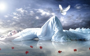 Картинка небо, взгляд, вода, девушка, поза, отражение, голубь, руки, макияж, лепестки, лежит, красные губы, роз
