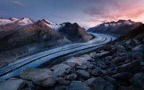 Картинка ледник, камни, скалы, небо, снег, пейзаж, Швейцария