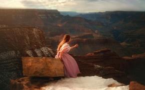 Картинка камень, TJ Drysdale, скалы, девушка, платье