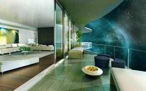 Картинка дом, вселенная, вид, Космос, space, терраса