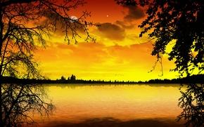 Картинка облака, деревья, пейзаж, гладь, красота, вечер, trees, style, water, evening