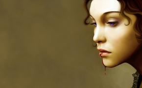 Картинка фон, лицо, профиль, волосы, кровь на губах, кровь, губы, девушка, капает, глаза