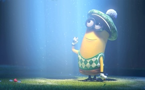 Картинка light, grass, glasses, Despicable Me 2, lenses, minion, clothes to play golf