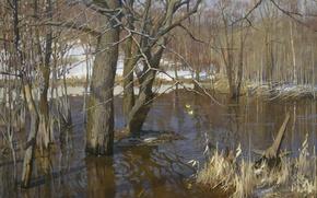 Картинка деревья, 2003, Зяблов Ярослав.вода, Разлив Сетуни