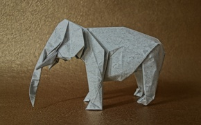 Картинка бумага, фон, слон, оригами