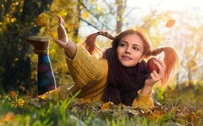 Картинка осень, девушка, свет, природа, листва, яблоко, фотограф, девочка, свитер, Tanya Markova