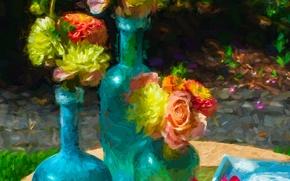 Картинка ваза, картина, цветы, бутылка, натюрморт, сад, двор