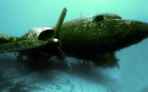 Картинка обломки, авиация, крушение, самолёт, под водой
