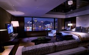 Картинка city, лампы, диван, кровать, телевизор, окно, шторы, спальня, interior, город., bedrom