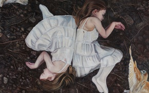 Картинка дети, картина, норвежский художник, Christer Karlstad, The Earth Below