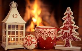 Обои christmas, xmas, fire, cup, decoration, рождество