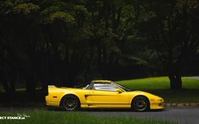 Картинка car, машина, Хонда, sport, wheels, спойлер, Honda, yellow, желтая, carbon, Acura, NSX, Work, Акура, углепластик, …