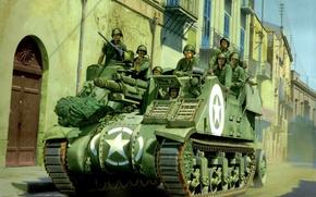 Картинка war, art, painting, tank, ww2, M7 Priest