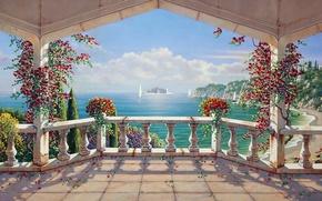 Картинка лето, картина, арт, художник, живопись, гармония, landscape, Italy, nature, beautiful, painting, Bob Pejman, Вилла Санторини, …