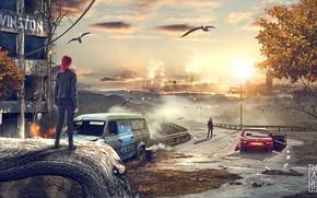 Обои fan art, постапокалипсис, арт, газель, люди, машины, macvenzer, город, птицы, одни из нас, девушка, авто, ...