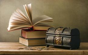 Картинка стол, книги, монеты, vintage, страницы, винтаж, сундучок
