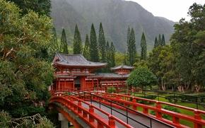 Обои деревья, мост, Япония, Пагода