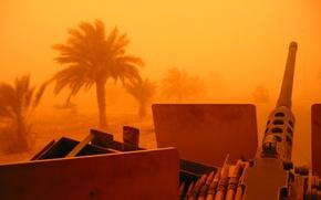Обои пальмы, война, ирак, пулемёт, песчанная буря, M2 Browning