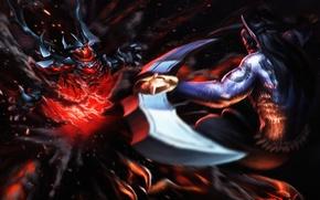 Картинка демон, арт, битва, Dota 2, Shadow Fiend, Anti-Mage, Nevermore, xxxhaozhuangxxx