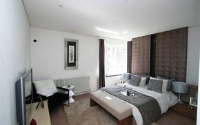 Картинка дизайн, стиль, комната, мебель, кровать, интерьер, подушки