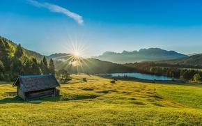 Обои Бавария, рассвет, восход, луг, Озеро Герольдзее, Lake Geroldsee, озеро, Баварские Альпы, Bavarian Alps, Германия, хижина, ...